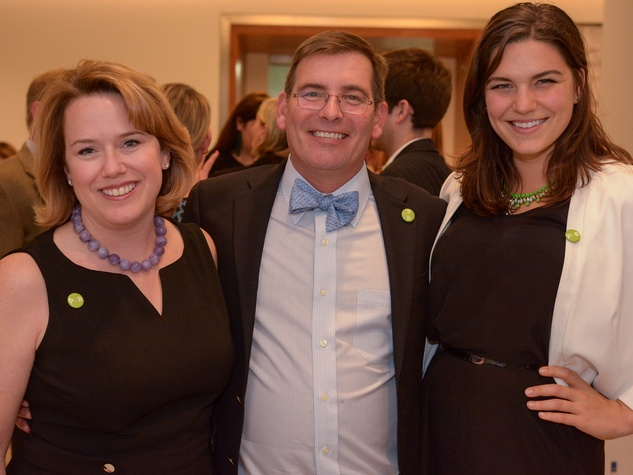 16 Jennifer and David Mire, from left, with Lauren Tennet at Preservation Houston's Pier & Beam #ThrowbackThursday Party November 2014