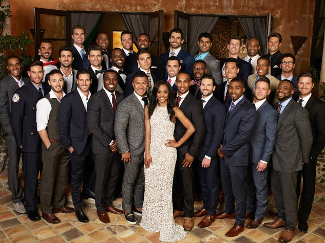 Bachelorette Rachel Lindsay with her suitors