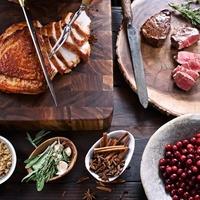 Thanksgiving meal ham cranberries steak