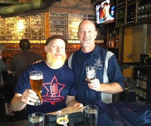 Denman and Brown broadcasting from a pint day at Hay Merchant April 2013 craft beer radio show