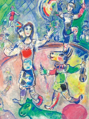 Chagall Rainbow Circus, Bass art