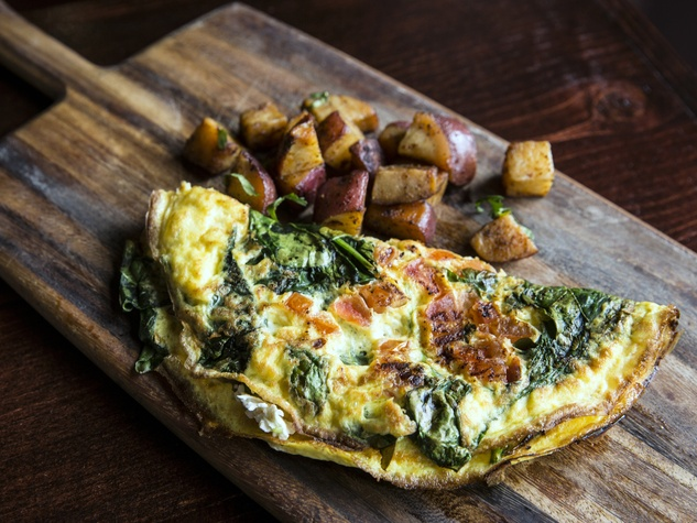 Houston, new brunch menus, Jan 2017, Greek omelet at Upstairs at Hungry's