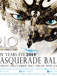 poster for New Year's Eve Masquerade ball at RIO Rooftop