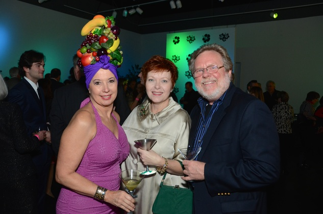 165 Jan Harrell, from left, Lyn Huck and David Harleston at the Craft Museum Martini Madness party January 2015