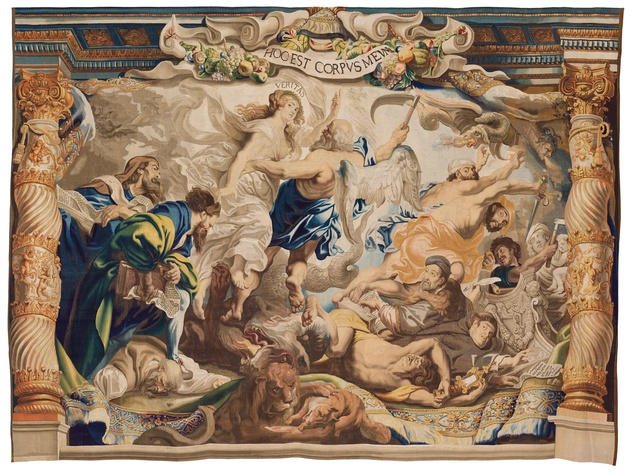 Woven by Jacob Geubels II after designs by Peter Paul Rubens, The Victory of Truth over Heresy, c. 1625–33, wool and silk, Patrimonio Nacional, Madrid, Monasterio de las Descalzas Reales.