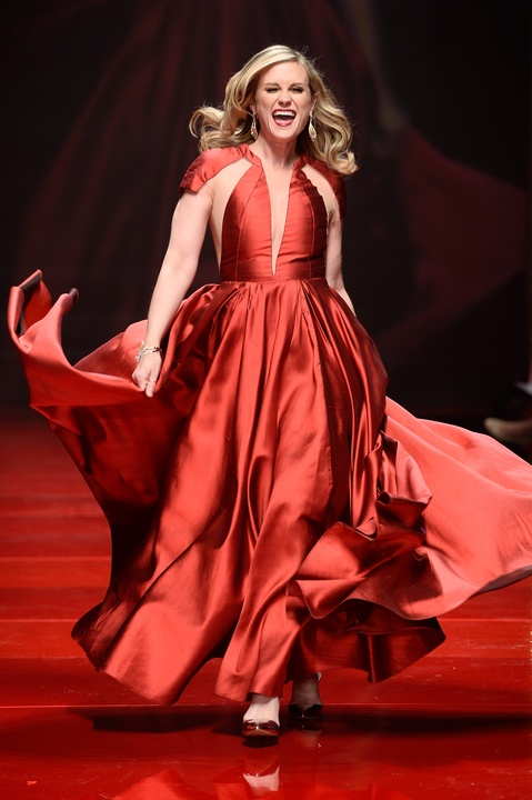Actress Bonnie Somerville walks the runway at the American Heart Association's Go Red For Women Red Dress Collection