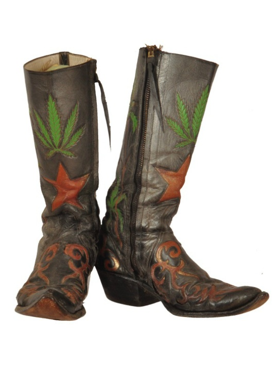 Eddie Wilson_Armadillo World Headquarters_Threadgill's_auction_Burley Auction Gallery_marijuana pot boots_Charlie Dunn