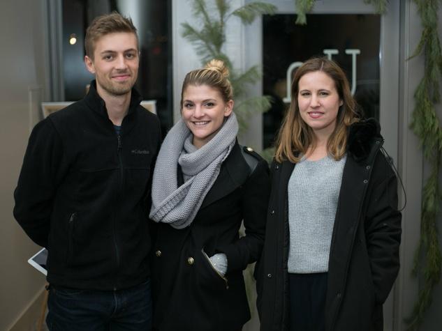 Paul Morrison, Kelsey Powell, Jocelyn Keyser at Unbranded final happy hour