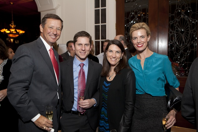 7 David Wuthrich, from left, Jose Obregon, Courtney Fretz and Katie Flaherty at the Houston Symphony Ball kickoff party November 2013