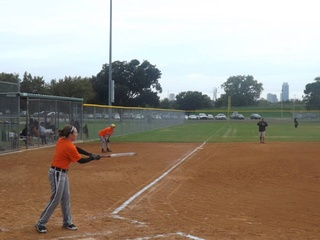 softball player at the ATX Sports and Adventures softball tournament