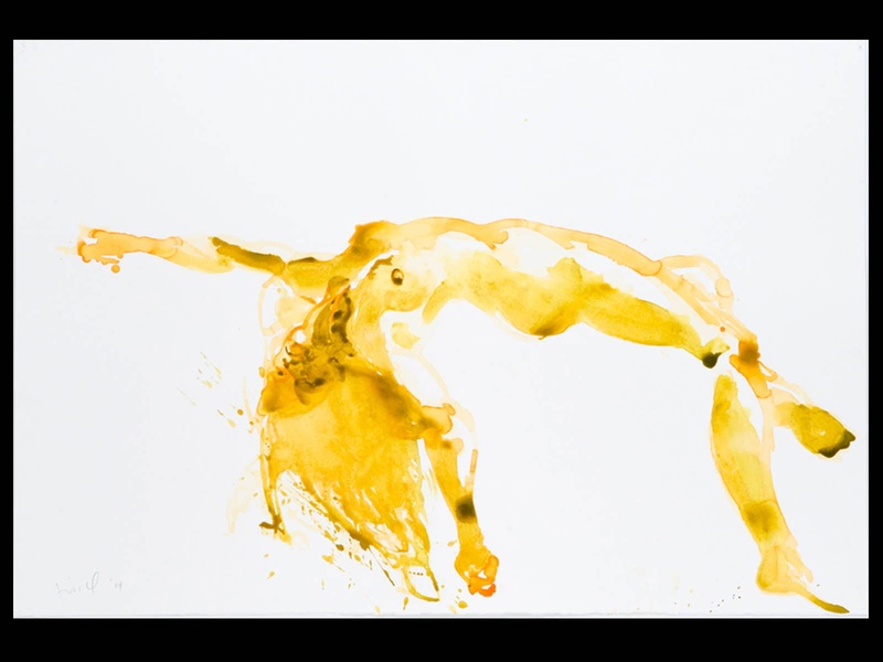 38, Houston Fine Art Fair, September 2012, Eric Fischl, Untitled (Yellow Figure), Watercolor on paper, 60'' x 40'', Courtesy of Hexton Gallery, BLACK SPACE