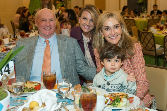 Scott Arnoldy, Lindley Arnoldy, Jana Arnoldy and Charlie Cassin at the Houston Symphony Children's Fashion Show & Luncheon March 2015