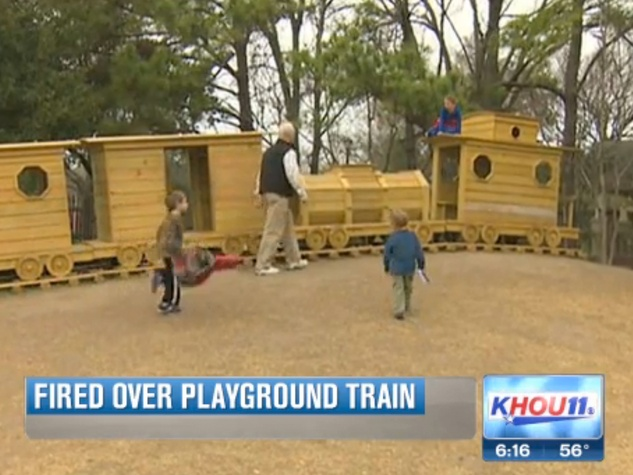 Houston Heights Donovan Park Paul Carr playground train January 2014