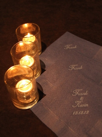6, Frank Billingsley, Kevin Gillard, wedding, December 2012, candles, napkins