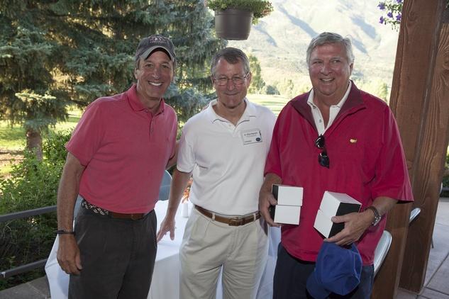 Jack Dinerstein, from left, Dr. Michael Reardon and John Madden Houston Methodist in Aspen July 2014