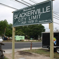Slackerville sign shopping area Austin