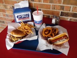 Burger and hot dog at Burger House in Dallas