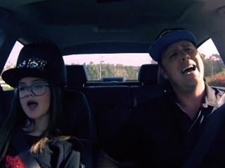 Dad lip syncs in car