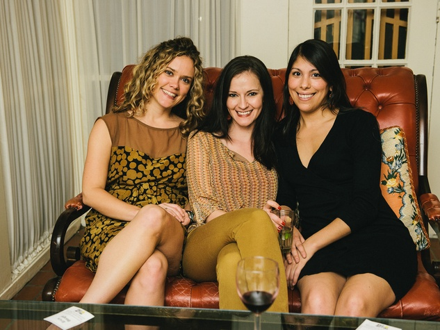 15 Kelly Gaynes, from left, Tiffany Vernon and Laura Espinoza at the CultureMap Social at La Colombe d'Or February 2014