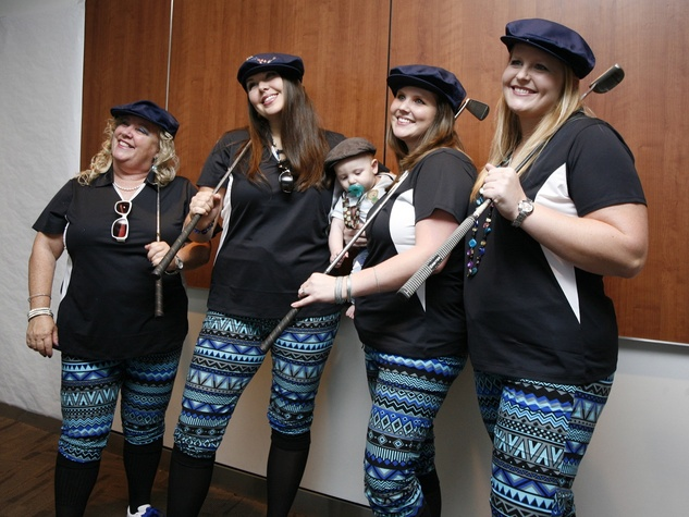Third place winners at the Bad Pants Open kick-off party at Texas Children's Hospital