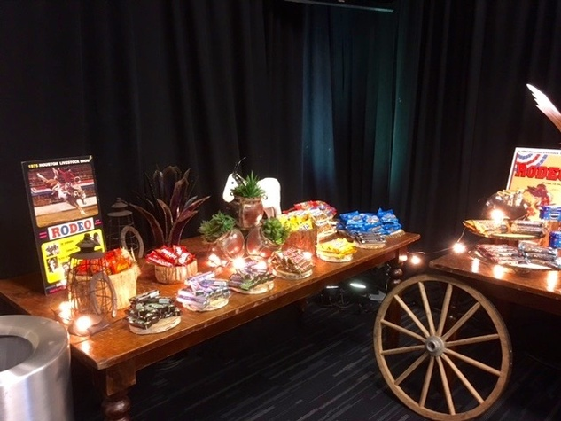 Candy table in entertainer's dressing room at RodeoHouston