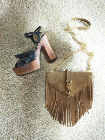Platform sandal and fringe bag