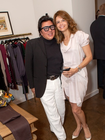 Michael Soliz and Tatiana Szligmann at the Julie Rhodes Fashion & Home Houston opening party October 2013