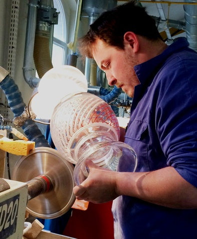 Cherri Carbonara Baccarat factory tour April 2015 Cutting fine crystal demands intense concentration and skill. Baccarat artisans spend several hours on one vase.