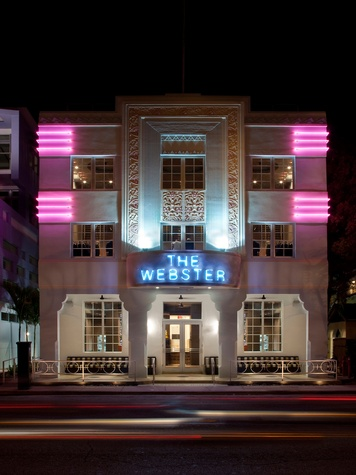 The Webster clothing store Miami March 2015 South Beach exterior at night
