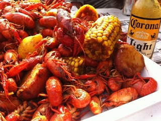 Sam's Boat on Richmond Avenue crawfish with Corona Lite beer in bottle