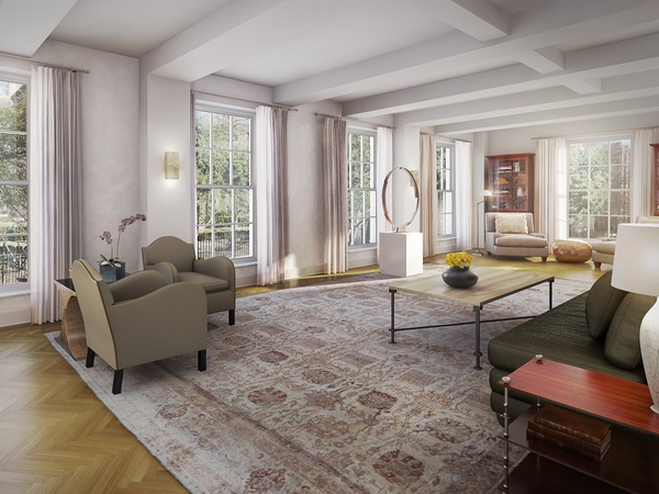 18 Gramercy Park, Leslie Alexander, NYC penthouse, living room rendering, October 2012