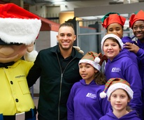 George Springer and choir kids
