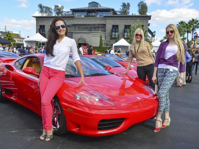 8 Lucy McCollum, from left, Anastasia Molodtsova and Uliana Maslovskaya at the Ferrari Festival November 2013