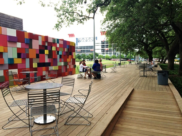 New, raised deck, Discovery Green, April 2014