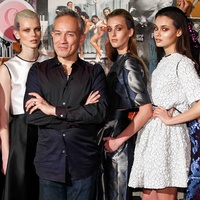 Cesar Galindo with Houston models at Czar show February 2014