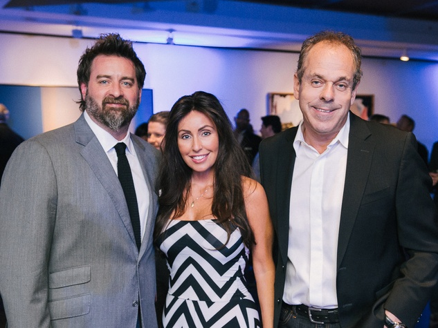 4 Tod Eason, from left, Dawn Eastridge and Robert Burnett at CultureMap fifth anniversary birthday party October 2014