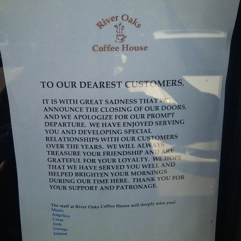 River Oaks Coffee House closes August 2013