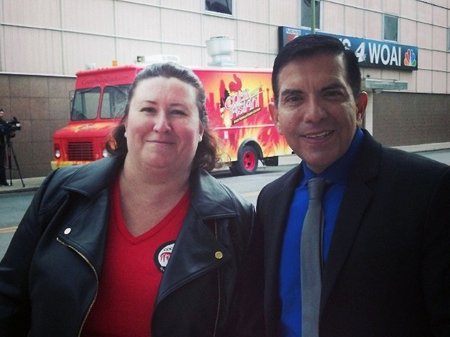 Cockasian food truck San Antonio owner and Randy from WOAI March 2014
