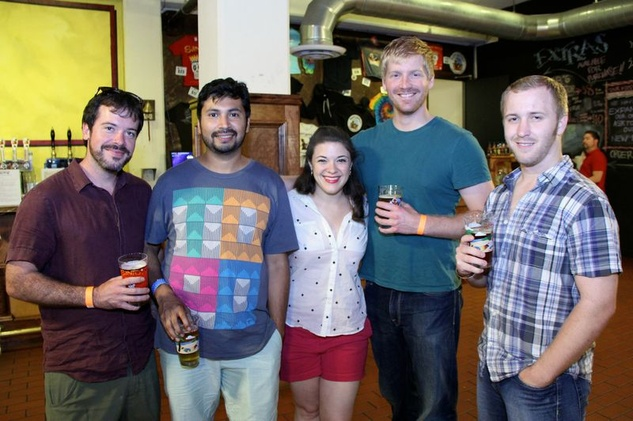 23 Austin Jordan, from left, Fernando Gutierrez, Haley Ray, Lance Paquette and Grant Waters at the Houston Area Women's Center Young Leaders Independence Day Bash July 2014