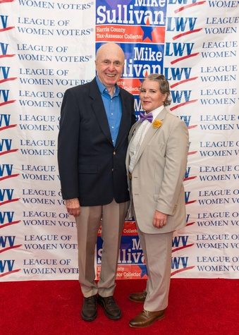 Don Kelley, first male member of the League of Women Voters in Texas and Aimee Mobley Turney, president of the League of Women Voters of the Houston Area