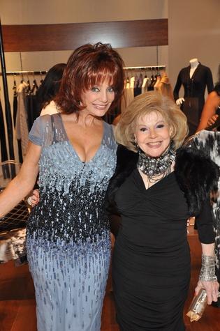 Missa Sutton, left, and Harriet Gertner at the Pamella Roland runway show at Elizabeth Anthony November 2014