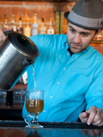 Darla, cold weather drinks, November 2012, Matt Tanner warms the cocktail with hot water