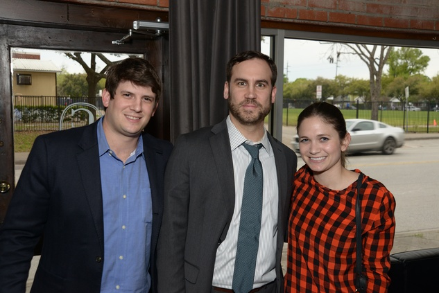 Brian Rudelson, from left, Ivan Neel and Emily Goetz at the Urban Wild of Memorial Park Conservancy's Launch Party March 2015
