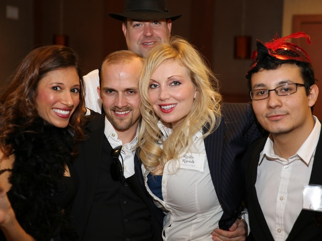 Gita Kulkarni, from left, Bruce Forest, Kevin Cousin, Jaclynn Hays and Hugo Soto at the Modern Professionals murder mystery event December 2013