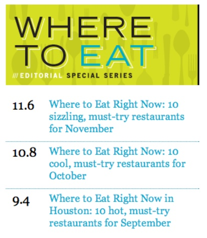 Where To Eat module on the CultureMap home page