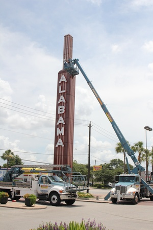 Alabama Theater Construction, Fixing Sign, June 2012