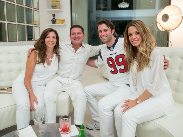 26 Kelly and Bruce Smith, from left, Ryan McGrath and Alex Hatfield at the Texans White Party September 2014