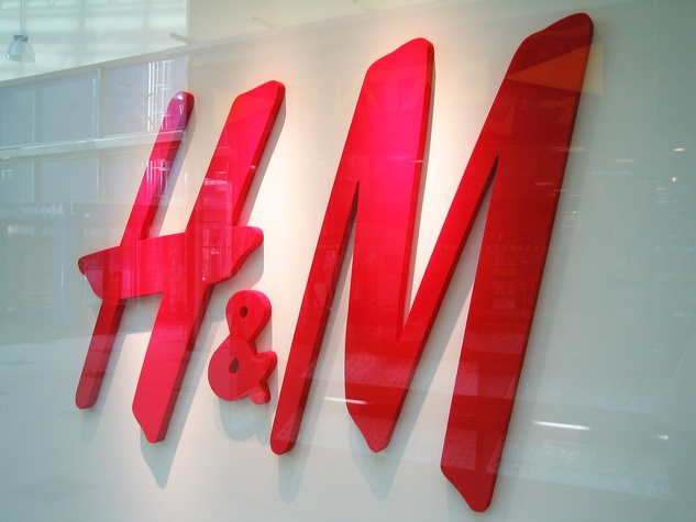 H&M store sign in store window