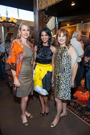 Susan Hansen, from left, Elizabeth Abraham and Vicki West at the Abraham's Oriental Rug dinner September 2014