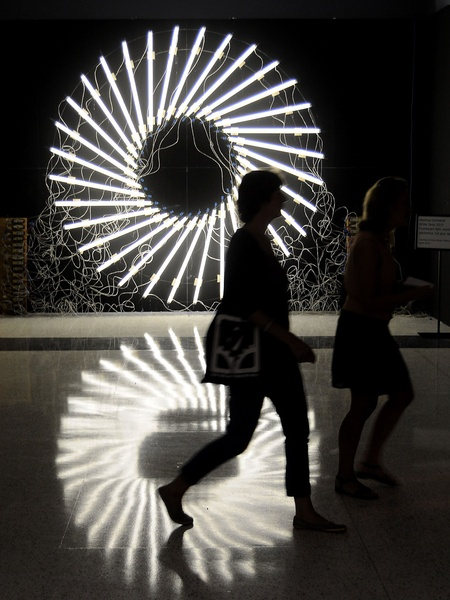 Houston Fine Arts Fair, artwork, September 2012, light wheel, shadows